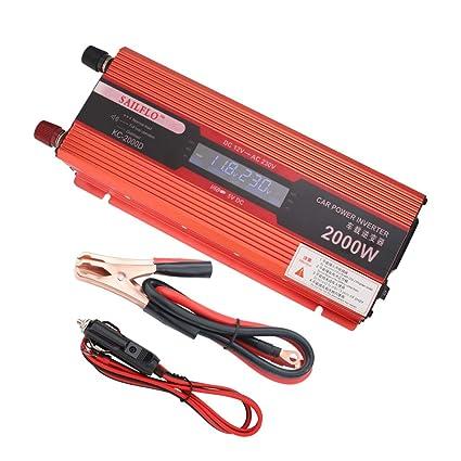 Inversor de la energía del coche DC 12V a la CA 220V 2000W Convertidor del vehículo Inversor del coche Fuente de alimentación Interruptor Cargador a ...