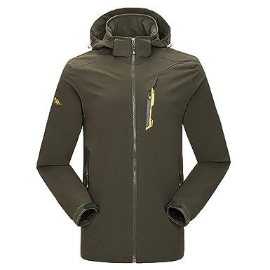 emansmoer Homme Coupe-vent Résistant à l eau Respirant Quick Dry Manteau  Outdoor Sport 590a1429c7b1