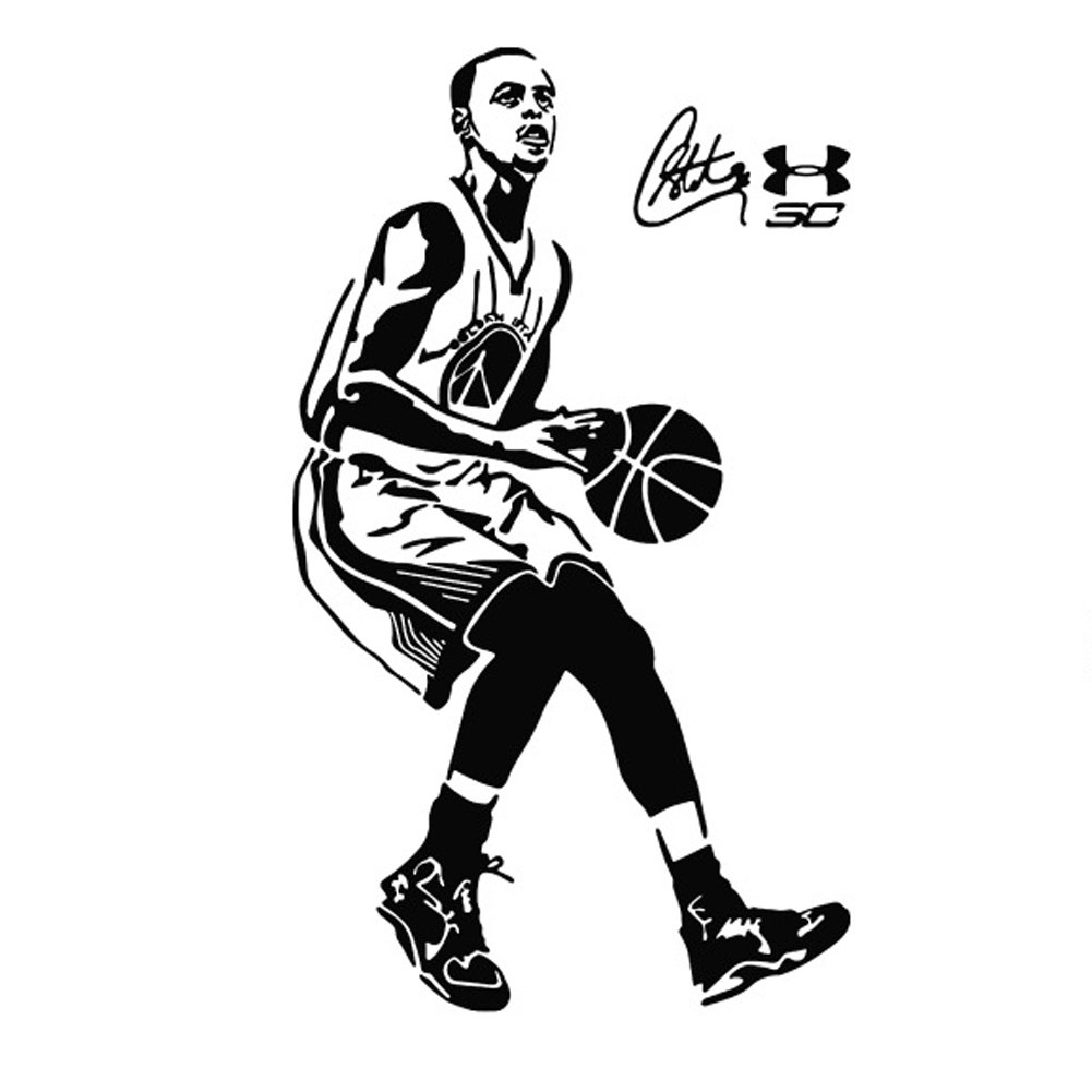 Home & Garden New Arrival Free Shipping Basketball Star Stephen Curry Sports Wall Stickers Vinyl Wall Art Wallpaper Home Decoration Mural Wall Stickers