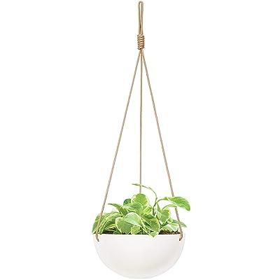 Mkono 9 Inch Ceramic Hanging Planter Indoor Outdoor Modern Round Flower Plant Pot White Porcelain Hanging Basket Plant Holder with Polyester Rope Hanger for Herbs Ferns Ivy Crawling Plants: Garden & Outdoor