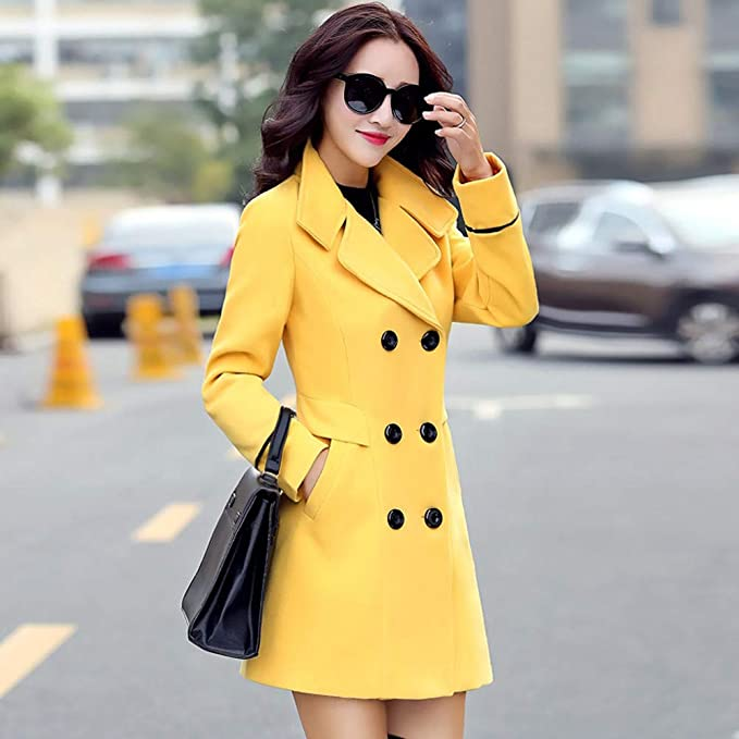 Amazon.com: AOJIAN Women Jacket Long Sleeve Outwear Elegant Notch Collar Double Breasted Solid Office Coat Yellow: AOJIAN