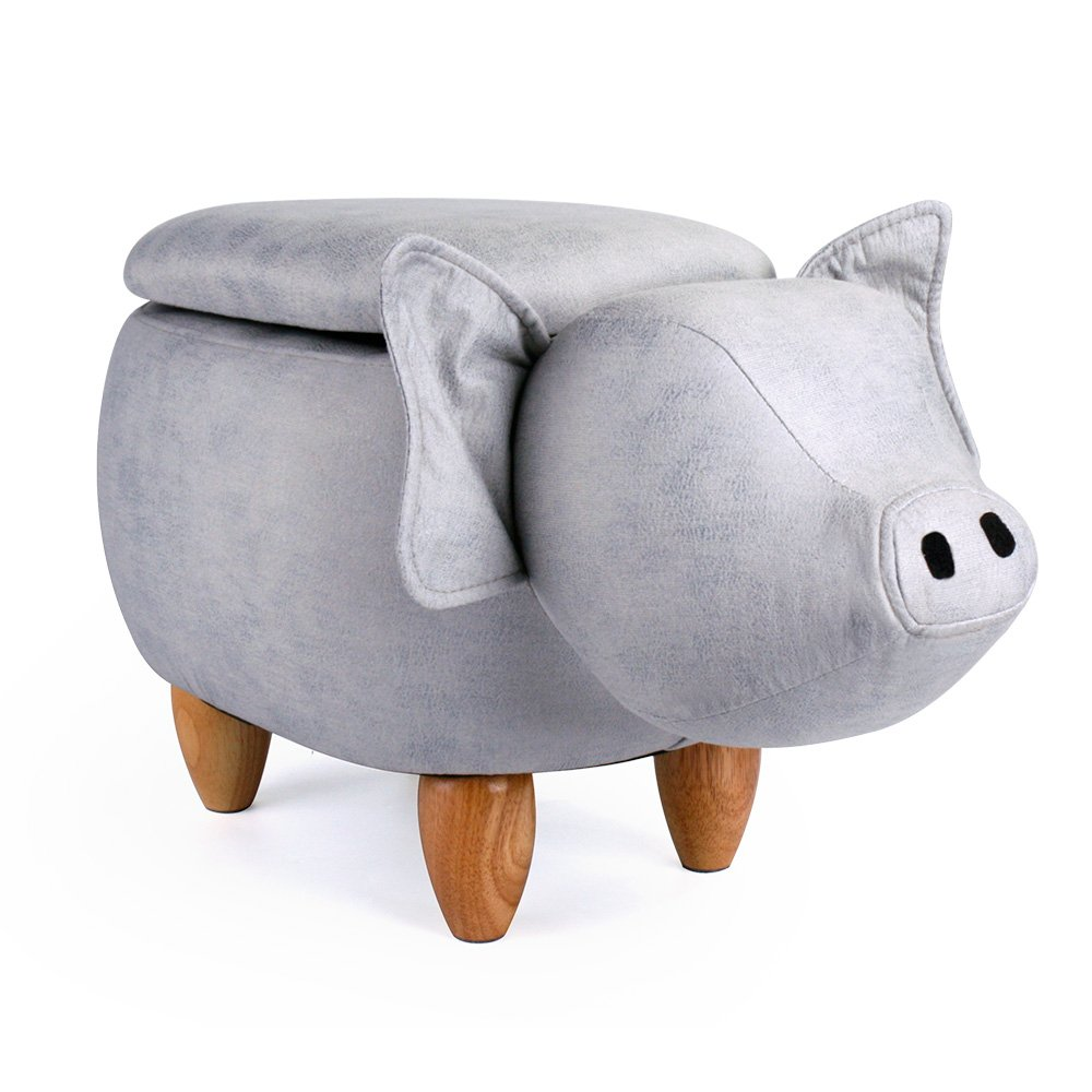 Leopard Pig Storage Ottoman Stools, Ride-on Animal Footrest Upholstered Stool With Storage, Gray - Cute Pig