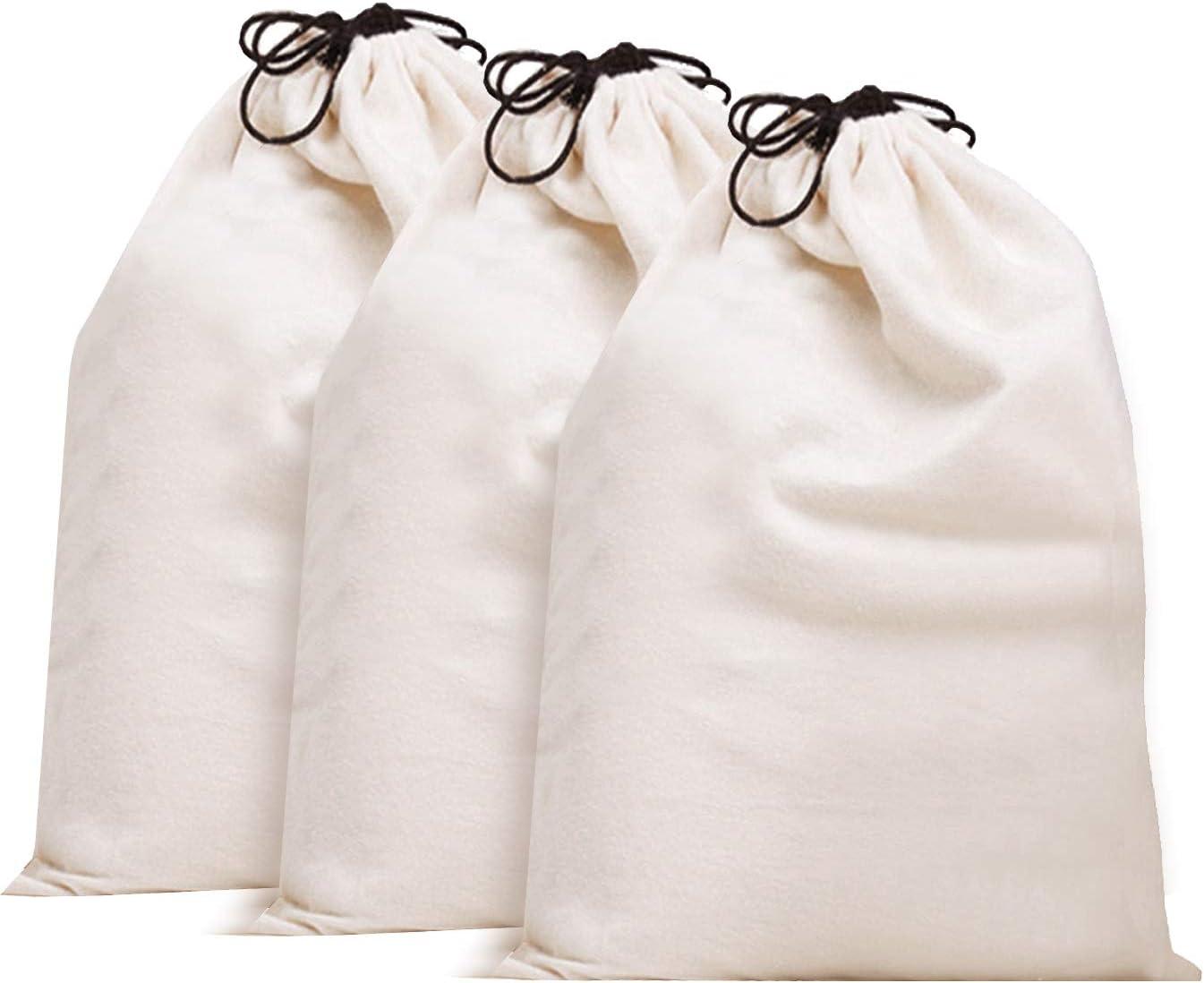 Misslo Cotton Breathable Dust-proof Drawstring Storage Pouch Bag (Pack 3 L)