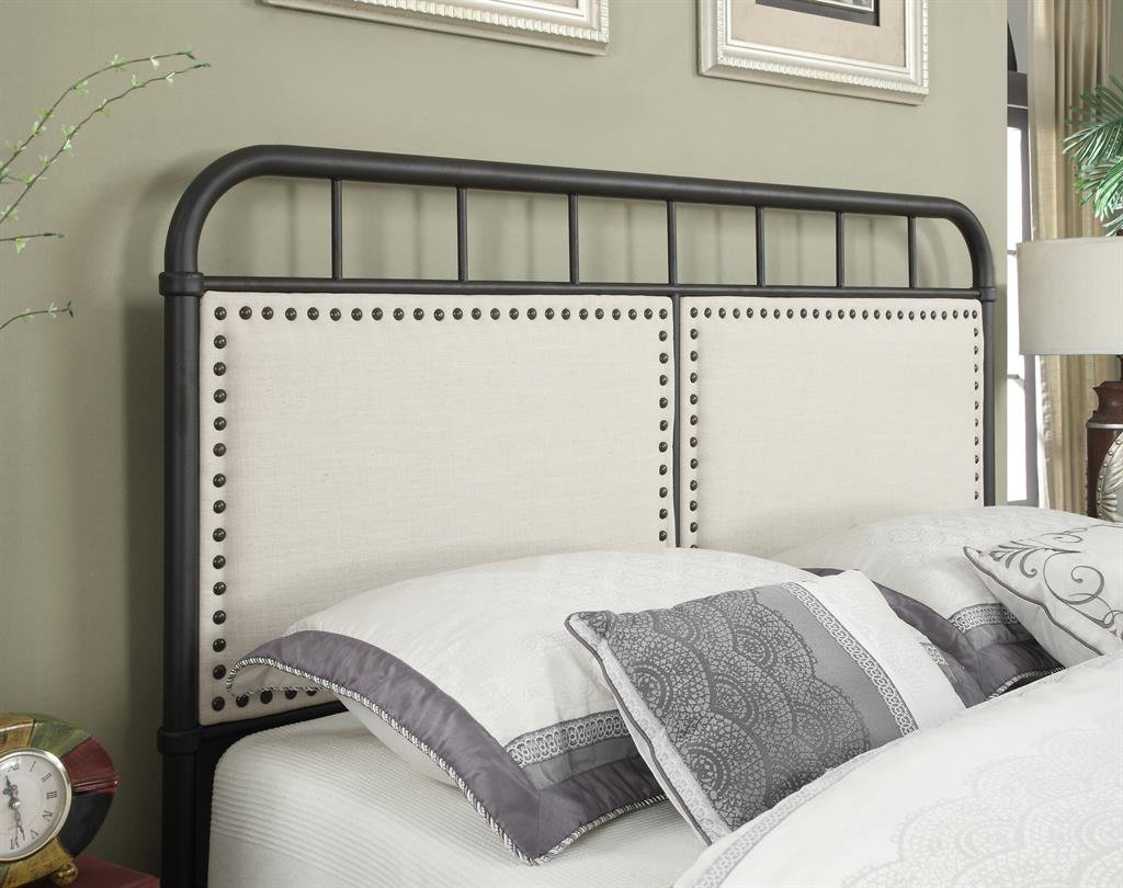 amazon com pulaski queen upholstered panel all in one metal bed