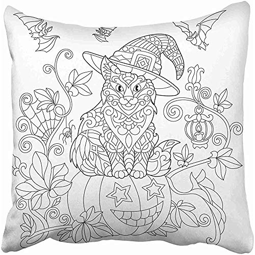 Starocle Coloring Page of Cat in Hat Sitting on Halloween Pumpkin Flying Bats Spider Lantern with Candle Freehand Throw Pillow Covers 18x18 inch Decorative Cover Pillowcase Cases Case Two -