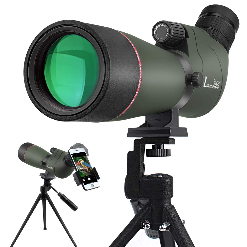LANDOVE Upgrade Prism Spotting Scope - 20-60X65mm BAK4 Waterproof Angled Spotting Scope with Tripod and Smartphone Holder for Target Shooting Bird Watching Hunting Archery Wildlife Observing by LANDOVE