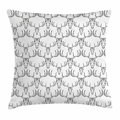 Antlers Throw Pillow Cushion Cover, Bohemian Style Hand Drawn Deer Skull with Horns Ethnic Tribal Artistic Doodle, Decorative Square Accent Pillow Case, 18 X 18 Inches, Black White