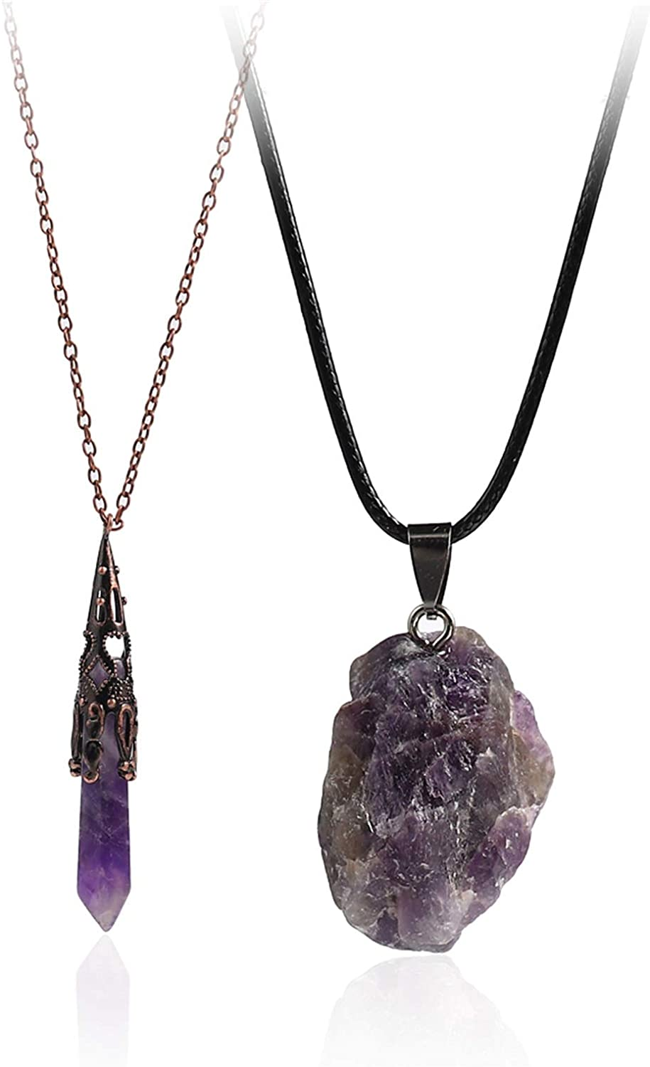 Raw amethyst crystal necklace snake gemstone wire wrapped sterling silver jewelry