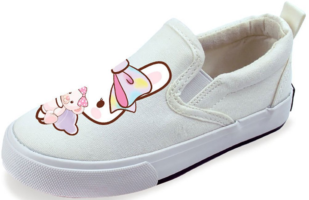 VECJUNIA Girl's Lovely Cartoon Platform Comfortable Antiskid Slip-On Fabric Loafers (White1, 11 M US Little Kid)