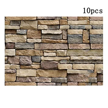 3d Wallpaper Brick Stone Background Wall Decor Pack Of 10 Self Adhesive Wall Stickers Simulation Vein Rock Stone Pattern Brick Wall Paper 45x100 Cm