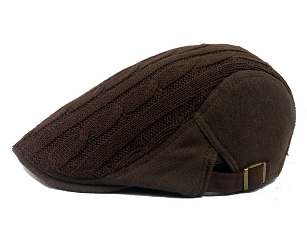 HEYFAIR Newsboy Cap Hooligan Hat for Men Women Knitted Wool Adjustable