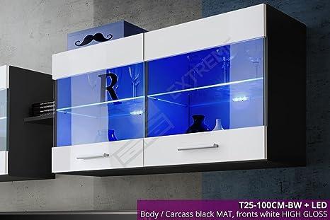 Mensole Per Ufficio : Bianco nero a parete mensole in vetro unità display lucido mensola