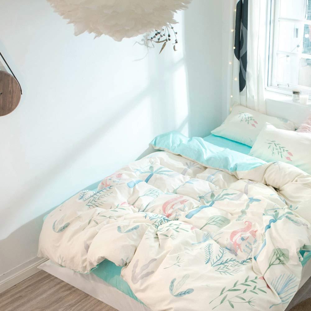 CSYP 乙女のベッド4ピースイン北欧綿シングル4ピーススーツコットンリネン掛け布団カバー寝具 (Color : Blue) B07NSQVTM9