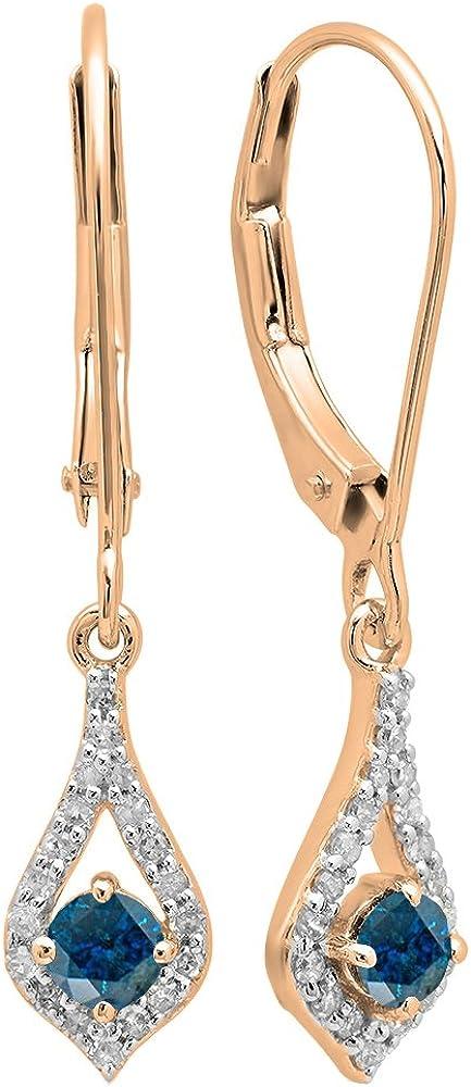Pendientes colgantes de oro rosa de 18 quilates con piedras preciosas y diamantes blancos
