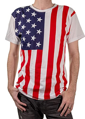 Calhoun Men's USA American Flag T-Shirt (Multi, Small)