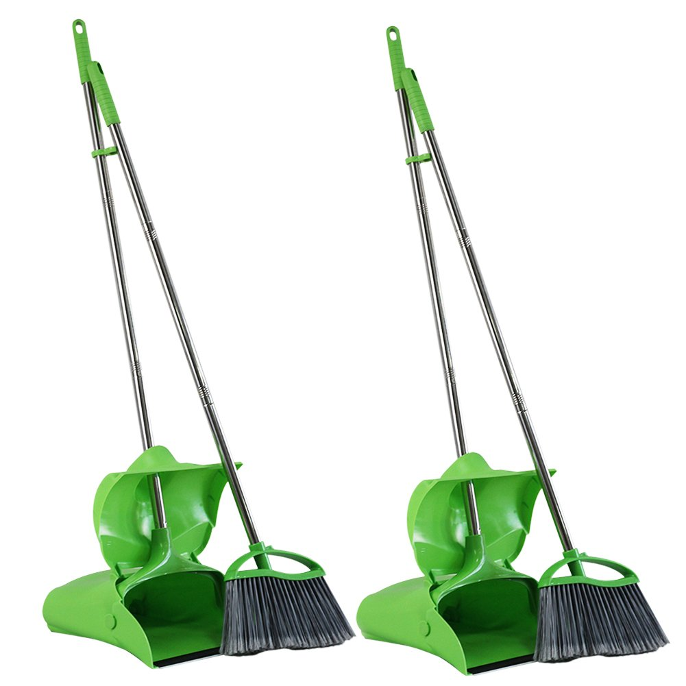 GLOYY Broom and Dustpan set Standing Upright Sweep Set for Home Office Commercial Hardwood Floor Use Out Door Garden Lobby, Green (Broom and Dustpan Set, 2-Pack)