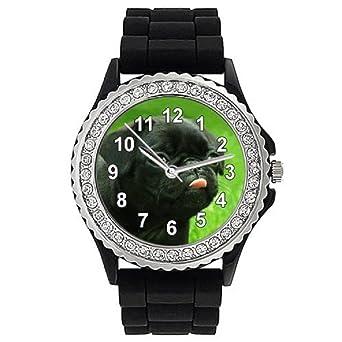 Timest - Carlino Negro - Reloj de Silicona Negro para Mujer con Piedrecillas Analógico Cuarzo CSG057: Amazon.es: Relojes