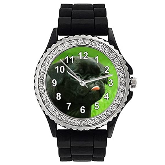 Timest - Carlino Negro - Reloj de Silicona Negro para Mujer con Piedrecillas Analógico Cuarzo CSG057