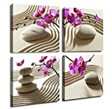 Canvas Print Wall Art-Butterfly Orchids Painting Zen Spa Purple Phalaenopsis Flowers On White Balance Stones 4 Panel Paintings Modern Artwork For Living Room Decoration Flower Home Decor