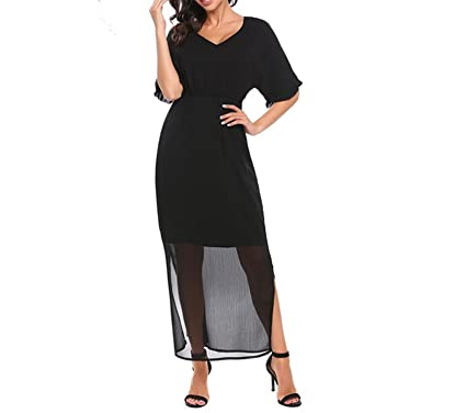 Zcaosma Elegant Women Pleated Maxi Dress Bohemia Style V Neck Raglan Sleeve Elastic High Waist Long Dresses Feminino Vestidos at Amazon Womens Clothing ...