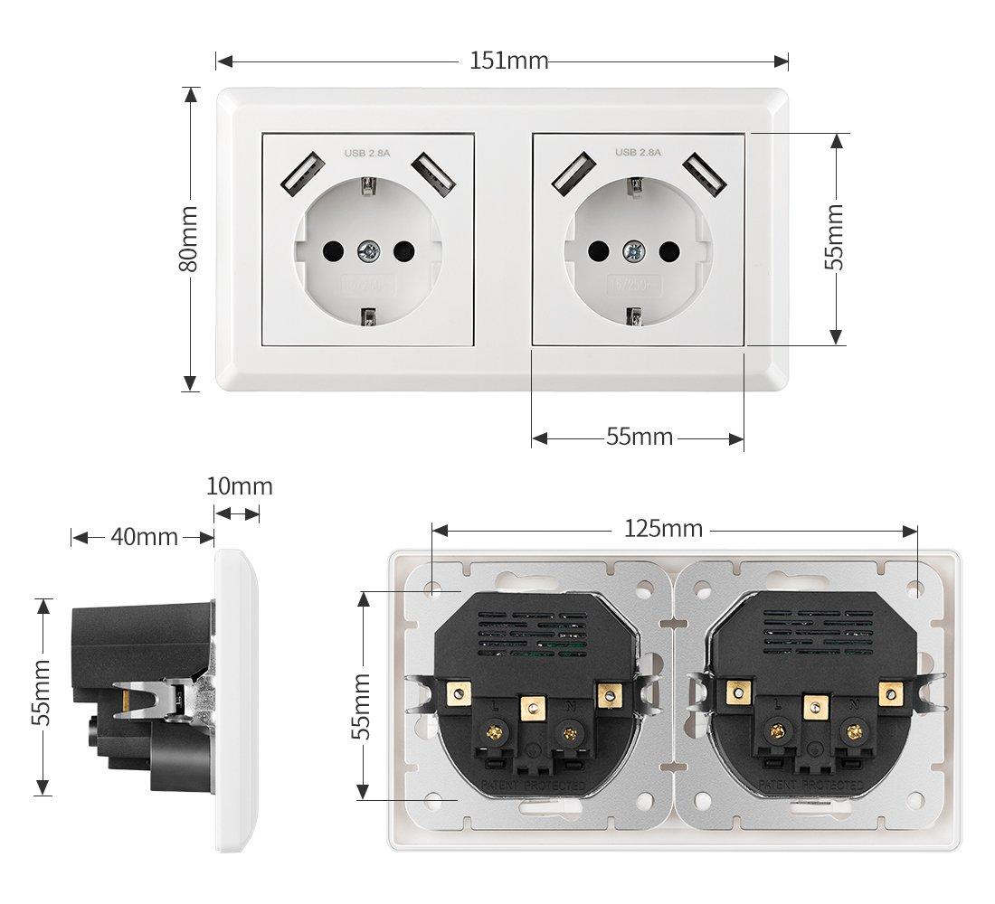con Puertos USB 2.4A Enchufes de Pared Tomas para Cargar Dispositivos M/óviles como Tel/éfono Inteligente C/ámara Tableta etc - Paquete de 2
