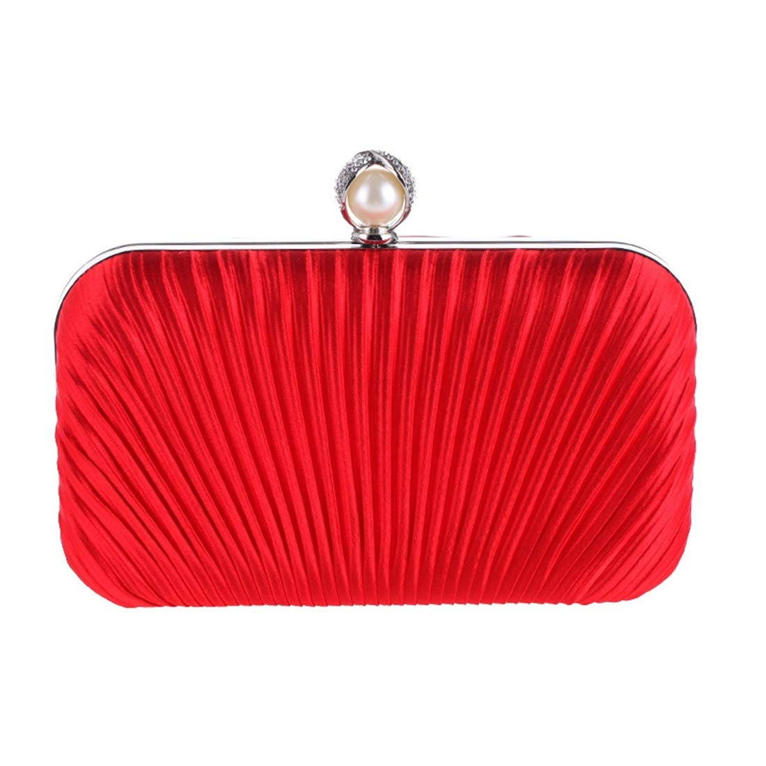 Color : Red QARYYQ New Womens Bag Fashion Evening Bag Diamond-Encrusted Evening Banquet Bag Europe and America Ruili Fold Fabric Craft Bag Evening Package