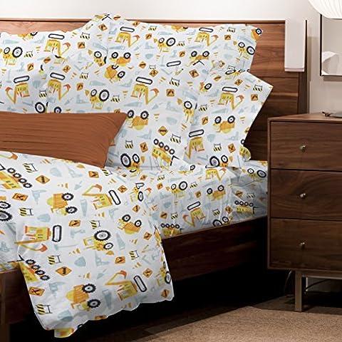 Safdie & Co. Sheet Set Juvenile 3PC T Under Construction, Twin, Multi - Juvenile Bedding