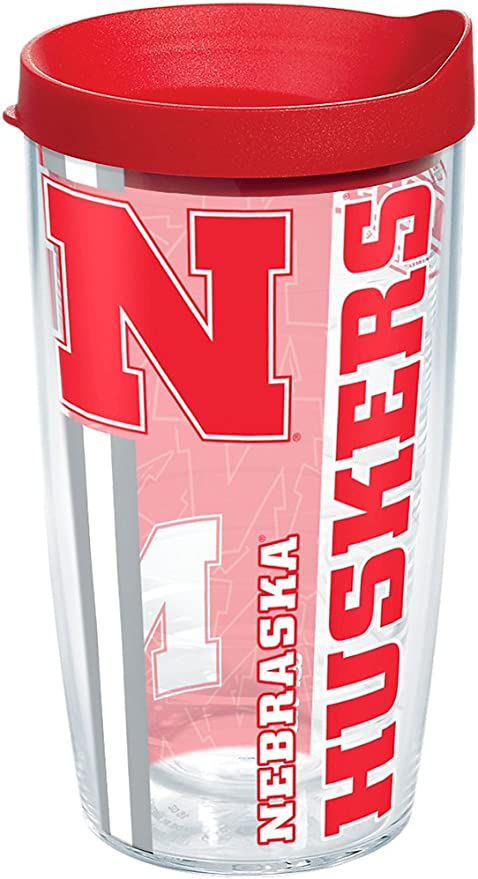 Tervis 1220438 Nebraska Cornhuskers College Pride Tumbler with Wrap and Red Lid 16oz Clear