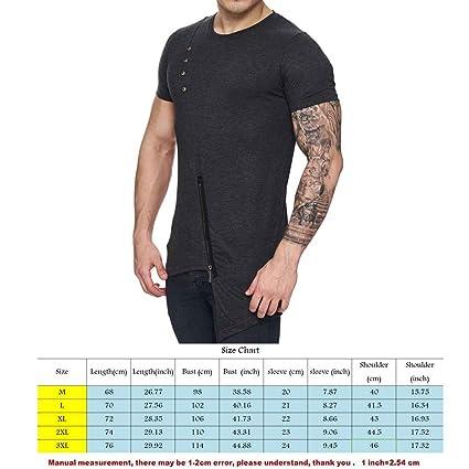 Mengonee Irregular Dobladillo Inferior Verano de los Hombres Camisetas con Cremallera Causal de Cuello Redondo Manga Corta… bUirFhKvU