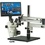 "CX3-OM99T-V7 - 6.5x-45x - Trinocular Zoom Stereo Microscope - HDMI 1080p Microscope Camera - Integrated 11.6"" Monitor - SD Card Slot - Articulating Bom Stand - 80 LED Ring Light"