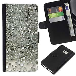 iBinBang / Flip Funda de Cuero Case Cover - Polígono de Espejo de Plata 3D reflectante - Samsung Galaxy S6 EDGE SM-G925
