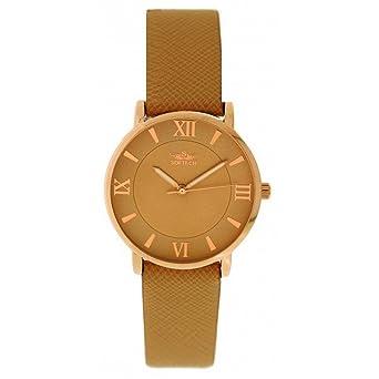 9da43dd2d18c Softech Men s Rose Gold Bezel Brown PU Leather Strap Wrist Watch Analog  Quartz Buckle Clasp Extra