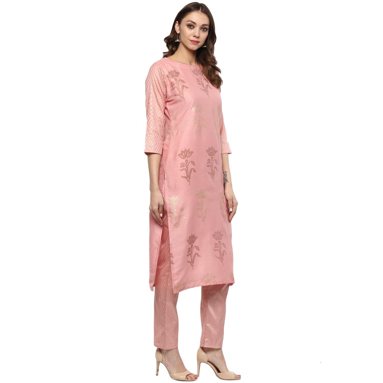 Ziyaa women s Pink Colour Straight polysilk Gold Foil Print Kurta  (ZIKUPS2068)  Amazon.in  Clothing   Accessories 4af13787b
