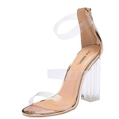 72da2a496f1 Amazon.com | CAPE ROBBIN Womens Open Toe Transparent Clear Triple ...
