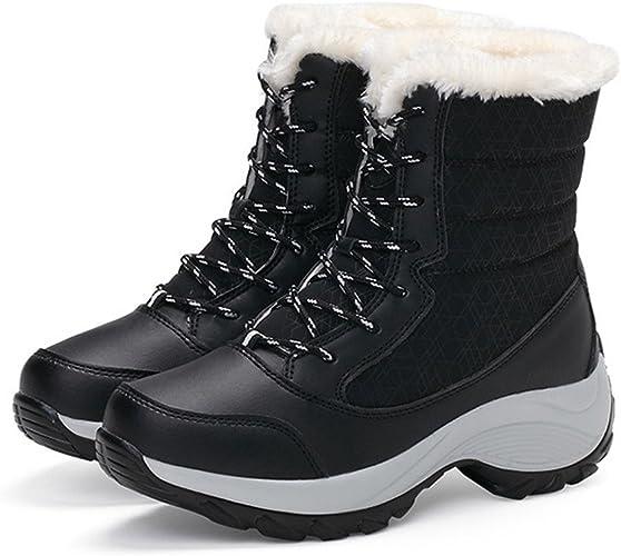 Beikoard Scarpe Timberland Stivali Invernali da Donna Peluche da Lavoro all'aperto Scarponi Caldi da Neve(Nero,39)