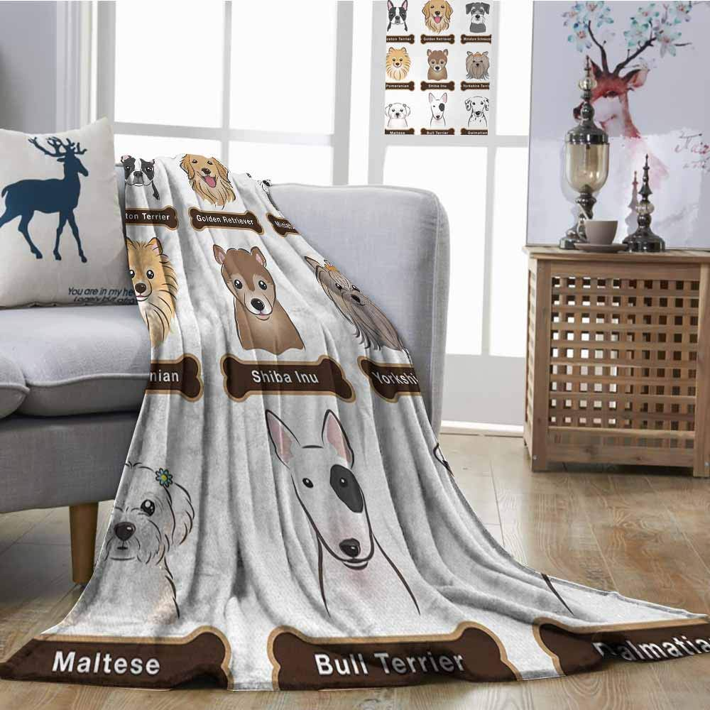 Axbkl Outdoor Blanket Dog Various Type of Dogs Nameplate Boston Terrier Domestic Animal Faithful Loyal Ultra Soft and Warm Hypoallergenic W70 xL70 Grey Cream White