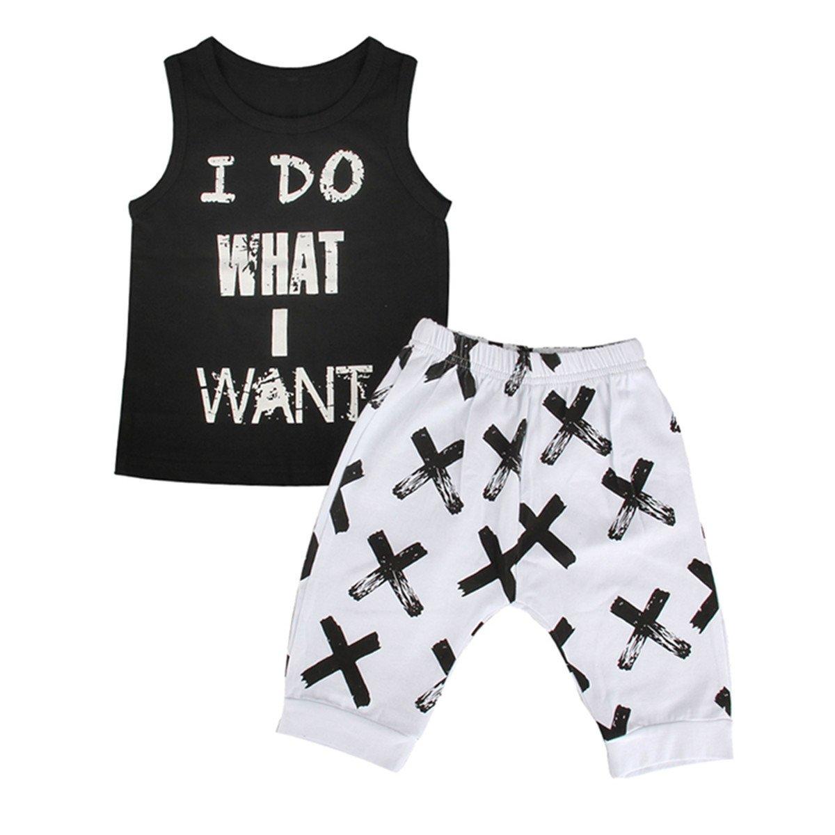 2pcs Toddler Kids Baby Boy Cool Sleeveless T-shirt Vest+Pants Clothes Outfit Set (2T-3T)