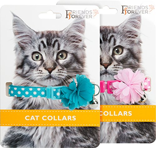 Friends Forever Breakaway Cat Collar - 2 Pack Cute Flower Cat Collars Breakaway with Fancy Polka Dots Pattern & Bell - Pink/Blue Adjustable Nylon ()