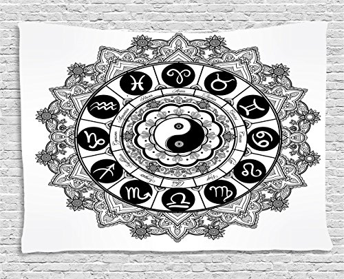 Ying Yang Decor Tapestry by Ambesonne, Round Zodiac Theme Design with Yin Yang Symbol in Centre Astrological Signs Print, Wall Hanging for Bedroom Living Room Dorm, 80 W X 60 L Inches, Black and White