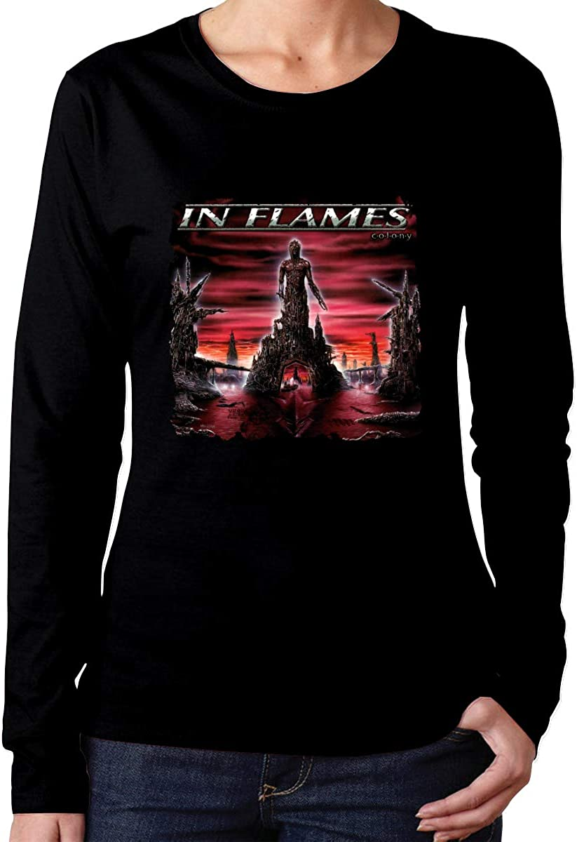 in Flames Colony Womens Casual Long Sleeve T Shirt O Neck Cotton Tee Tee