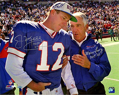 (NFL Buffalo Bills Jim Kelly/Marv Levy Dual Signed and Inscribed 16x20 Photo)