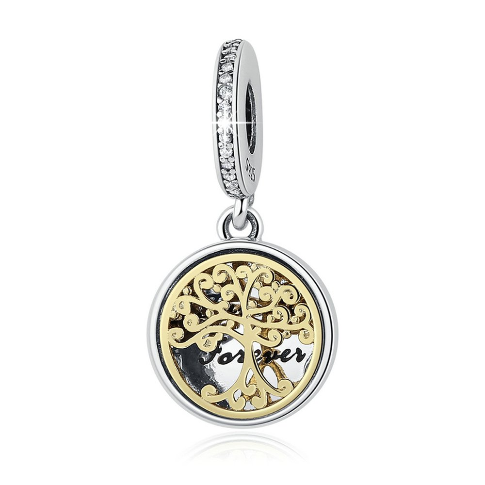 Everbling Family Roots Trees & Engraved Family Forever 925 Sterling Silver Bead Fits Pandora Charm Bracelet