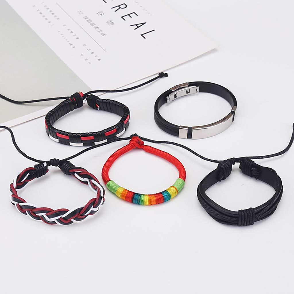 Peigen Wrap Bracelets for Men Women Hemp Cords Wood Ethnic Tribal Bracelets Leather Wristbands
