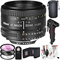 Nikon AF NIKKOR 50mm f/1.8D Prime Lens and Deluxe Accessory Bundle w/ Water Resistant Lens Pouch + 3pc Filter Kit + Xpix Tripod, Deluxe Camera Cleaning Kit, More