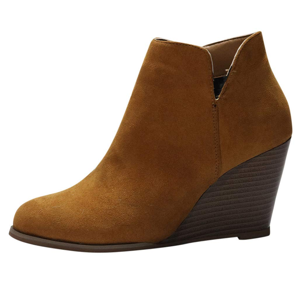 Kauneus♕ Wedge Ankle Bootie for Women Almond Toe Comfortable Suede Western Cutout Booties Fashion Boots Brown by Kauneus Fashion Shoes