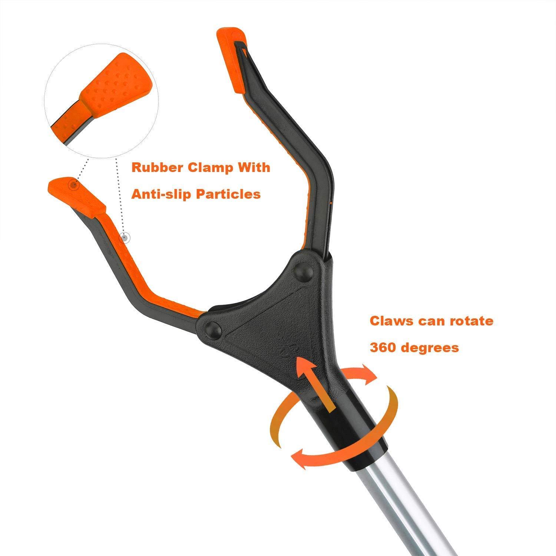 Aptoper Extensor Plegable de 32 Pulgadas Naranja Ayuda a la Movilidad Herramienta de Asistencia de Larga duraci/ón recogedor de Basura Flexible y Ligera Herramienta de Recogida para agarrar