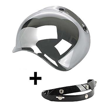 Visera Bubble 3 botones abatible espejo espejo plata universal para casco jet compatible con cascos Biltwell