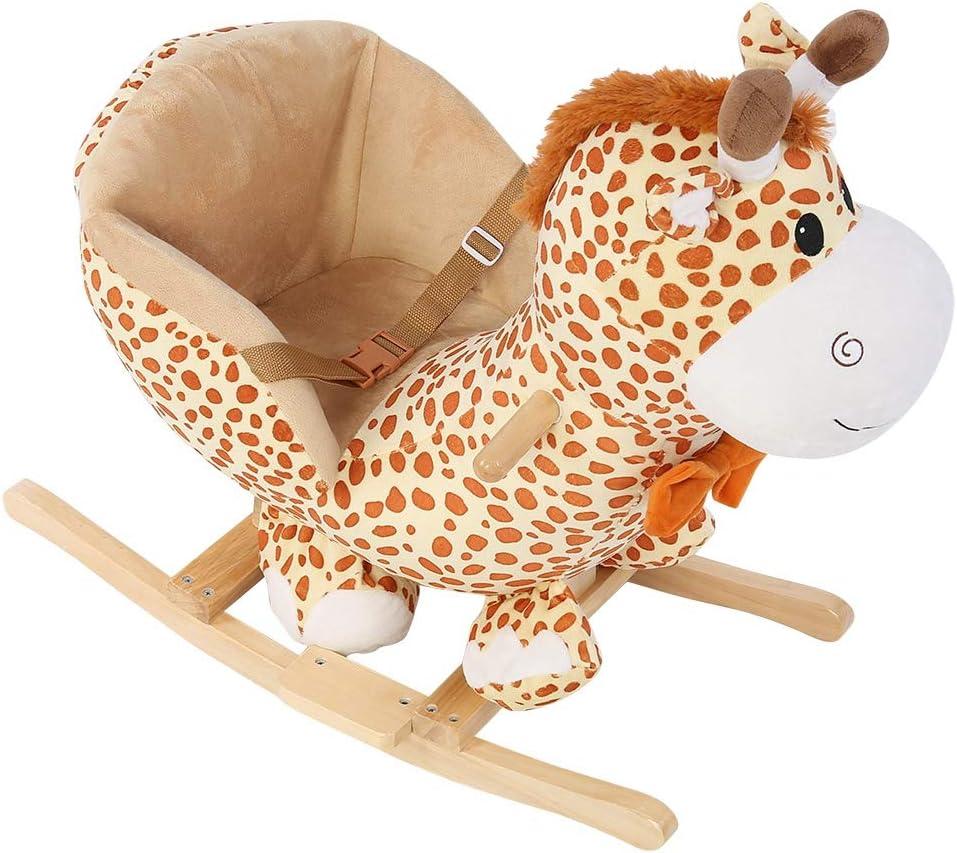 SOULONG Cheval /à Bascule Enfant Girafe Bascule Bois avec Roues Peluche Bascule pour B/éb/é Animal Bascule en Bois Jouet /à Bascule B/éb/é Cheval /à Bascule B/éb/é Int/érieur Ext/érieur 60 x