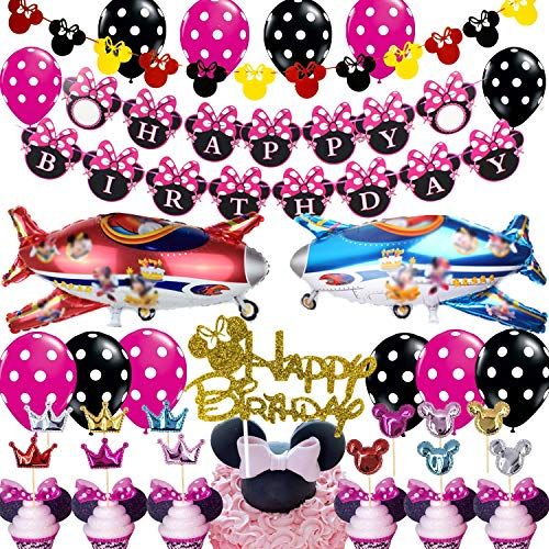 Minnie Mouse Party Decorations Supplies Minnie Birthday Banner for Girls 1st 2nd 3rd Baby Shower]()