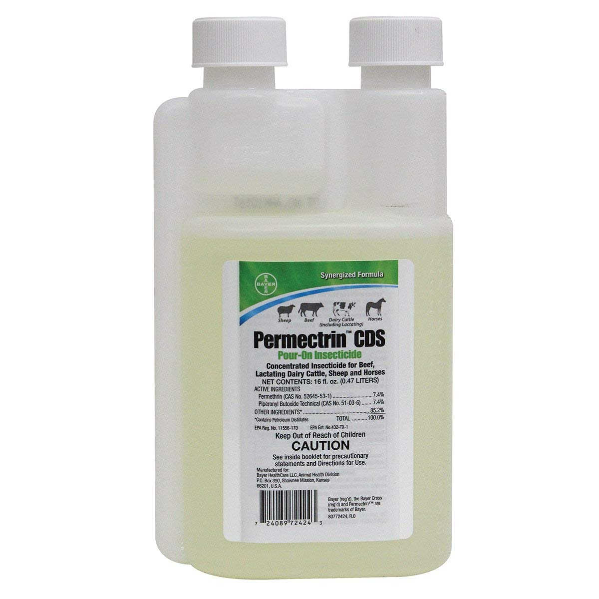 Bayer 16 Fl Oz Permectrin CDS Pour- On Insecticide Synergized Formula Beef Dairy Cattle Sheep Horses by Bayer